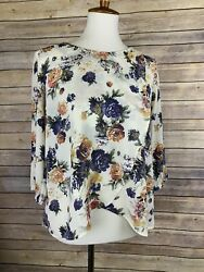 Lush Small Floral Top Crossover Front 3 4 Sleeve Blouse Faux Wrap $15.75