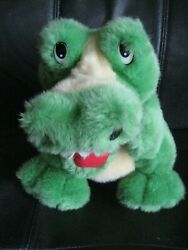 Green Alligator Plush Hand Puppet 12quot; YELLOW SPIKES STOMACH Open Toothy Mouth $14.99