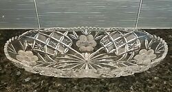 Antique Crystal Celery Oblong Dish 13.5quot; x 6.25quot; saw tooth Flowers perfect $70.00
