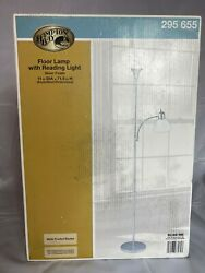 Hampton Bay 71.5 in. Silver Floor Lamp with Reading Light Frosted White Shades $36.99