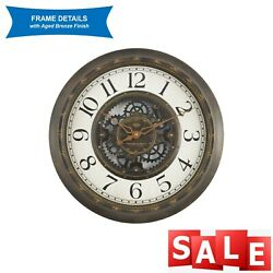 15.5quot; Wall Clock Vintage Gear Style Large Home Decor Aged Bronze $23.00