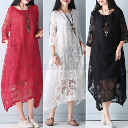 US STOCK Womens Casual Holiday Party Lace Crochet Crew Neck Long Shirt Dress NEW $21.15