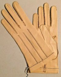 Vintage 1950s Leather Lady Pearl gloves Small size from Madrid NOS 3201 $49.99