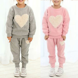 Kids Toddler Girls Pullover Sweatshirt Jogger Pants Tracksuit Casual Outfits Set $16.43