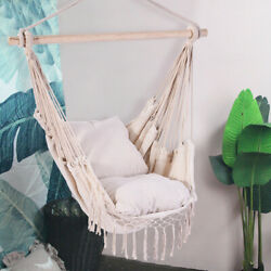 Cotton Hanging Rope Hammock Chair Swing Round Indoor Outdoor Home Garden Patio $33.24