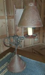 Farmhouse Rustic Reddish Brown Metal Tin Punched Table Lamp amp; Shade Primitive $52.00
