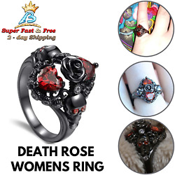 Women Gothic Black Biker Ring Death Halloween Skull Statement Party Jewelry Ring