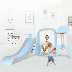 5 In 1 Kids Indoor And Outdoor Slide Swing And Basketball Football Set $159.99