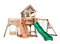 Outdoor Wooden Swing Set Toy Playhouse PlaySet with Slide Stairs All Cedar NEW $1989.00