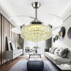 42quot; Silver Invisible Ceiling Fan Lamp Remote LED Crystal Lighting Chandeliers $209.43