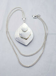 Nolan Miller Hammered Multi Pendant 32 1 2quot; Long Silver tone Necklace $12.80