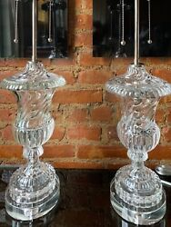 PAIR BACCARAT STYLE CRYSTAL SWIRL GLASS MID CENTURY MODERN TABLE LAMPS VINTAGE $2800.00