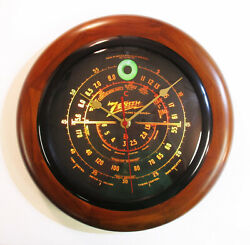 Old Antique Style Zenith Black Dial Wood Wall Clock Vintage Tube Radio Style $53.95
