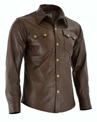 Men#x27;s Soft Brown Leather Slim Fit Full Sleeve Button up Shirt Jacket for Men $59.99