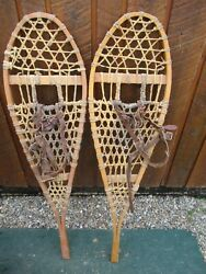 VINTAGE Snowshoes 43quot; Long x 11quot; Wide Has Leather Binding DECORATION $49.43