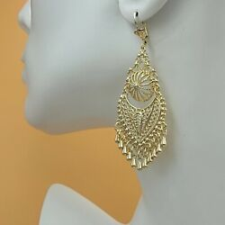 Chandelier Earrings. Aretes Folklorico w Crystals. 18K Gold Plated. Oro laminado $14.99