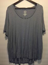 MAURICES 24 7– 2X plus women's ladies basic top knit shirt striped short sleeve $8.95