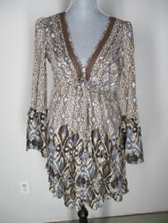 Sanctuary Ikat Print Bell L S Sleeve Silk Lace Boho Festival Ruffle Dress S $10.00