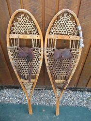 VINTAGE Snowshoes 42quot; Long x 11quot; with Leather Bindings FABER For DECORATION $49.19