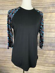 Lularoe Medium Randy Raglan Black Floral Sleeve Teal Red Rounded Hem $16.50