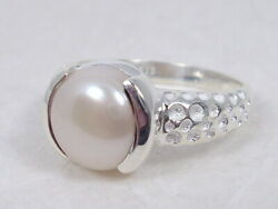 925 Sterling Silver Modern White Pearl Ring Size 8 $21.19
