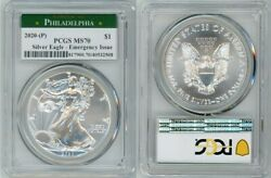 2020 P SILVER AMERICAN EAGLE $1 EMERGENCY ISSUE PCGS MS70 PHILADELPHIA $149.99