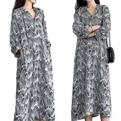 Womens Long Sleeve Maxi Dress Casual Baggy Beach Holiday Party Long Dresses $20.99