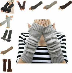 Winter Warm Long Gloves Stretchy Finger Less Knitted Arm Warmer For Women Girls $6.99