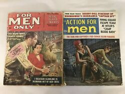 March 1963 Vintage FOR MEN ONLY Dec 1958 ACTION FOR MEN Magazine Lot $9.99