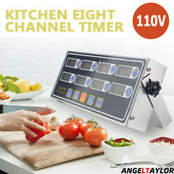Digital Countdown 8 Channel Commercial Timer Kitchen Calculagraph Loud Alarm NEW