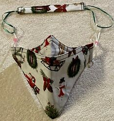 Homemade Mask Adjustable with Neck String White Christmas $6.99