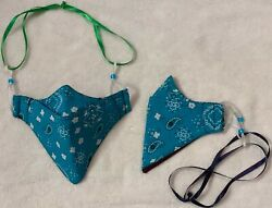 Homemade Mask Adjustable with Neck String Teal Pattern $6.99