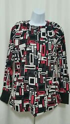 UA STRETCH SMALL SHADES OF SQUARE BLACK BUTTON LONG SLEEVE SCRUB JACKET EUC $11.95