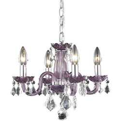 Elegant Lighting V7804D15PE RC Rococo Mini Chandelier Purple $136.00