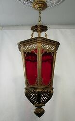 Antique Vintage Chandelier Pendant Red Glass Morocan Light Fixture Lamp $695.00