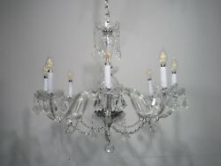Antique Vintage Chandelier Crystal 8 Lt. Elegant Fixture French Pendalogues $875.00