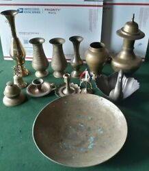 Vintage Brass Lot Candleholders Bowl Bells Décor Vases Pitchers Swan Giraffe $49.95