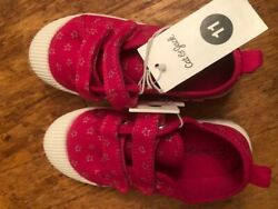 """NEW little Girls Sneakers Size 11 Cat amp; Jack """"Madge"""" Pink with Gray Stars $14.00"""