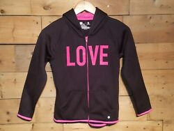 Xersion Girls Size M 10 12 Hoodie Jacket Full Zip Black amp; Pink Love Swanky Barn $13.45