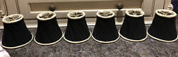 """6 Black amp; Gold 5""""W X 4""""T Lamp Chandelier Shades Ruched twisted Fabric $29.00"""