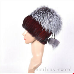 Very warm knitted suede fur gloves fox fur hat a choice of 7 colors $118.00