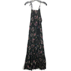 Intimately Free People Garden Party Maxi Dress XS Black Pink Floral Smocked Boho $32.50