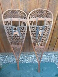 ANTIQUE Snowshoes 43quot; Long x 13quot; Wide Has Leather Bindigns VERY NICE AND OLD $98.96