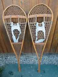 ANTIQUE Snowshoes 46quot; Long x 1quot; Wide Has Leather Bindings VERY NICE AND OLD $98.97