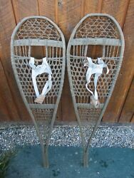 ANTIQUE Snowshoes 45quot; Long x 13quot; Wide Has Leather Bindings VERY NICE AND OLD $98.98