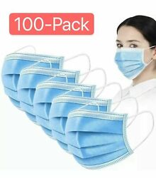 100 PCS Blue Face Mask Mouth amp; Nose Protecting Families Easy Safe $11.99