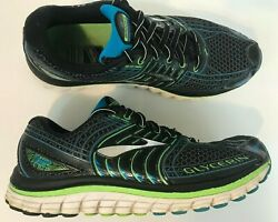 Brooks Glycerin 12 Mens Running Shoes Size 7.5 Black Green Blue Fast Shipping $19.99