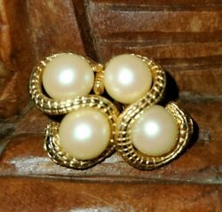 RARE GIVENCHY Vintage SNAKE DOUBLE Faux Pearl Gold Tone Earrings Signed 1970s $229.00