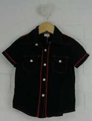 Rock Your Baby Size 2 Years Designer Boys Black Shirt Red Stitching Pearl Snap