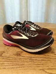 Brooks Ghost 10 Womens Size 9W Running Shoes Black Pink White $34.99